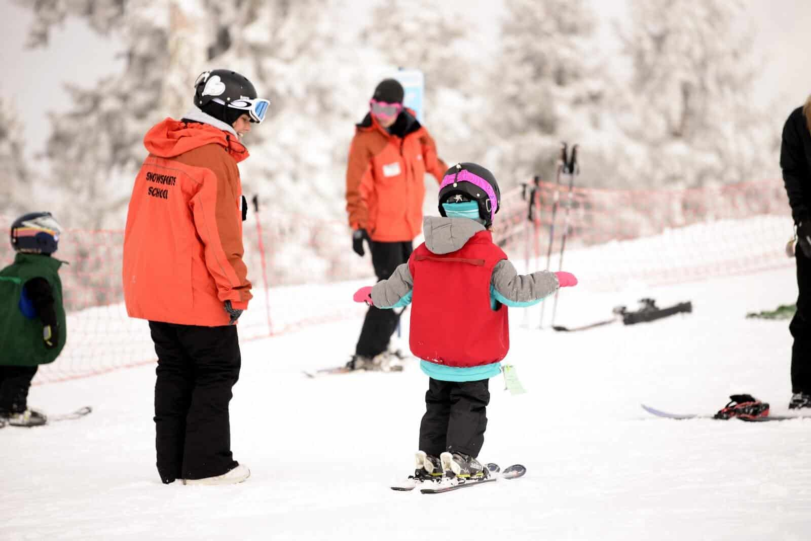 Mt. Ashland Ski School Instructors And Student