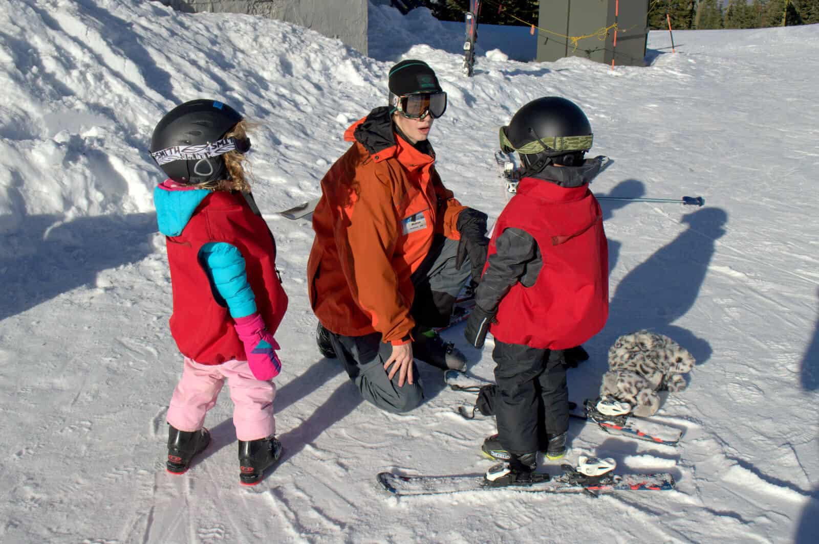 Mt. Ashland Ski School Instructor And Students