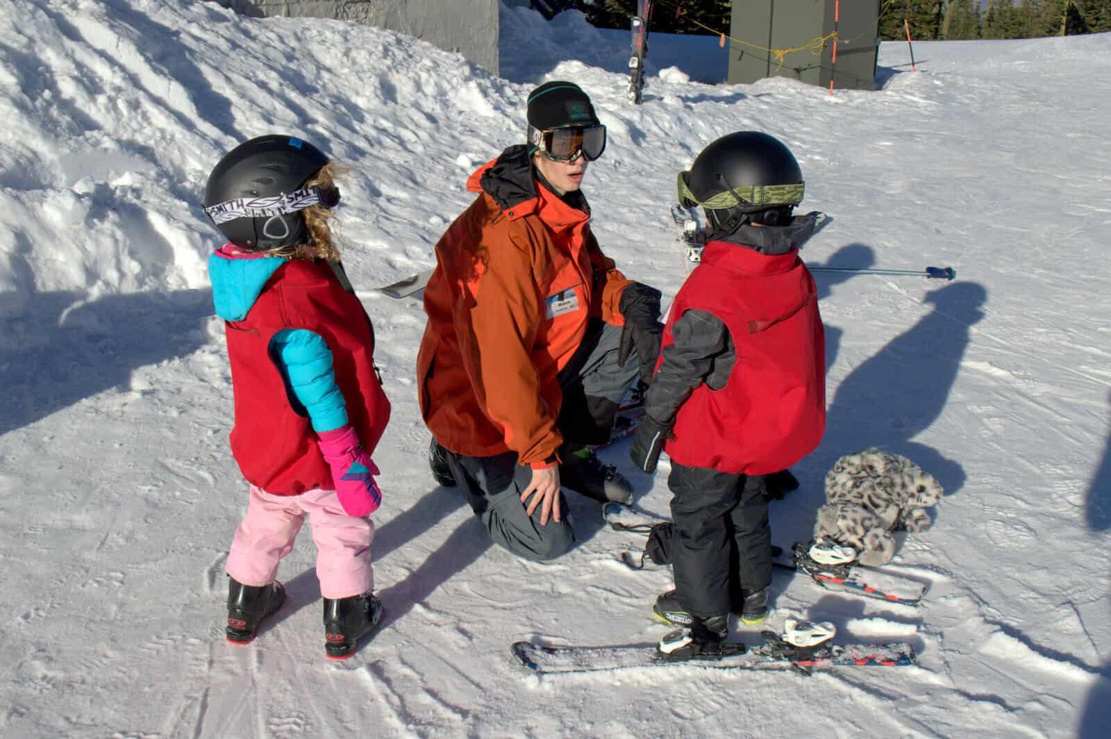 Mt. Ashland Ski School Instructor And Students