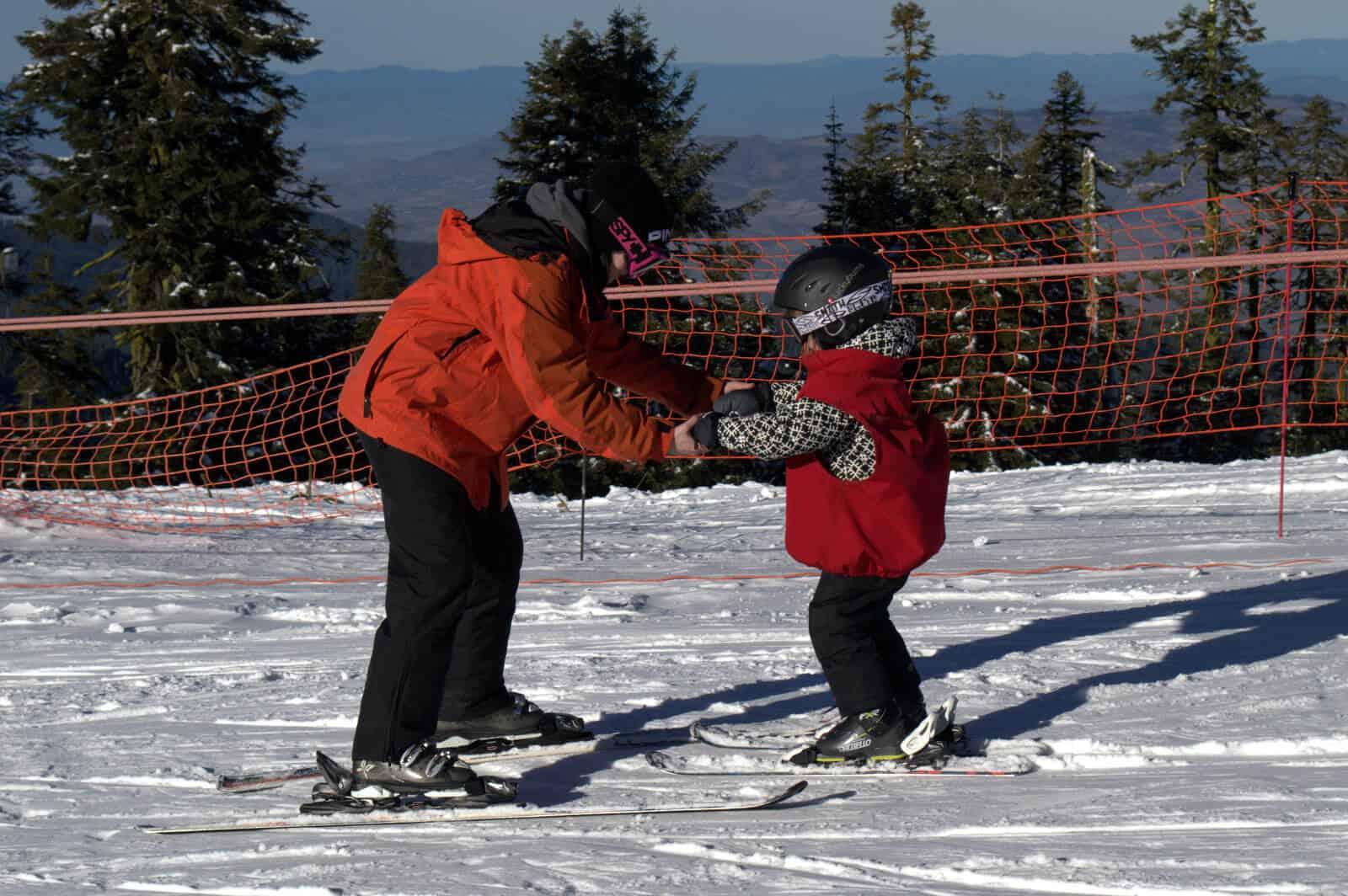 Mt. Ashland Ski School Instructor And Student