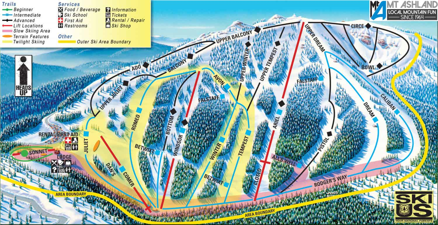Trail Map - Mt. Ashland Ski Area on montana resort towns, mt. snow trail map, montana average temperatures by month, mt. rose ski area map, great divide ski map, montana ski areas, montana hotels map, montana ski towns, new york city tourist attractions map, mt. baldy ski trail map, montana whitefish mountain resort, tremblant canada map, red lodge ski resort map, mt spokane ski map, montana road conditions map webcams, red lodge trail map, resorts in montana map, montana snotel data, montana scenic drives map, montana hiking map,