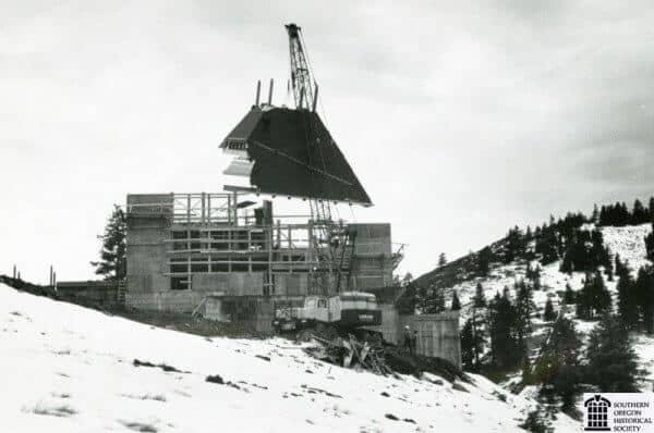 Mt. Ashland Lodge construction in 1963