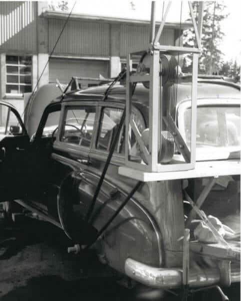Dan Bulkley fashioned a ski lift using his car axle.