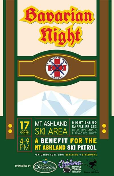 Bavarian Night, a fundraiser for the Mt. Ashland Ski Patrol 4-9pm on 2/17/18