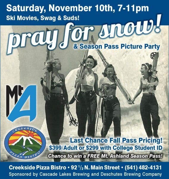 Creekside Pizza's Pray for Snow party is on Nov. 10, 7-11 pm