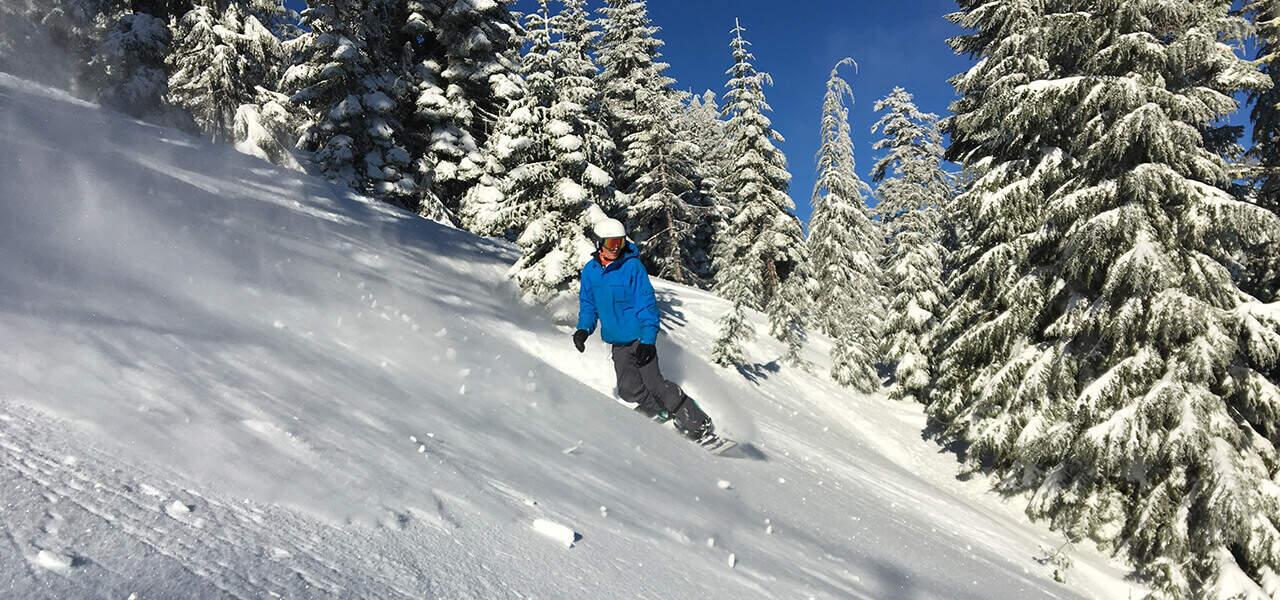 Snowboarder at Mt. Ashland during Spring Break