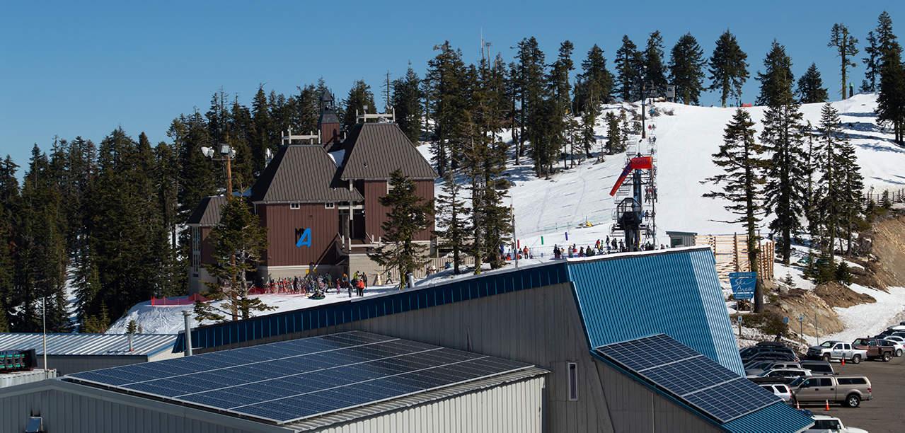 Mt. Ashland Lodge and the ski area's solar panels
