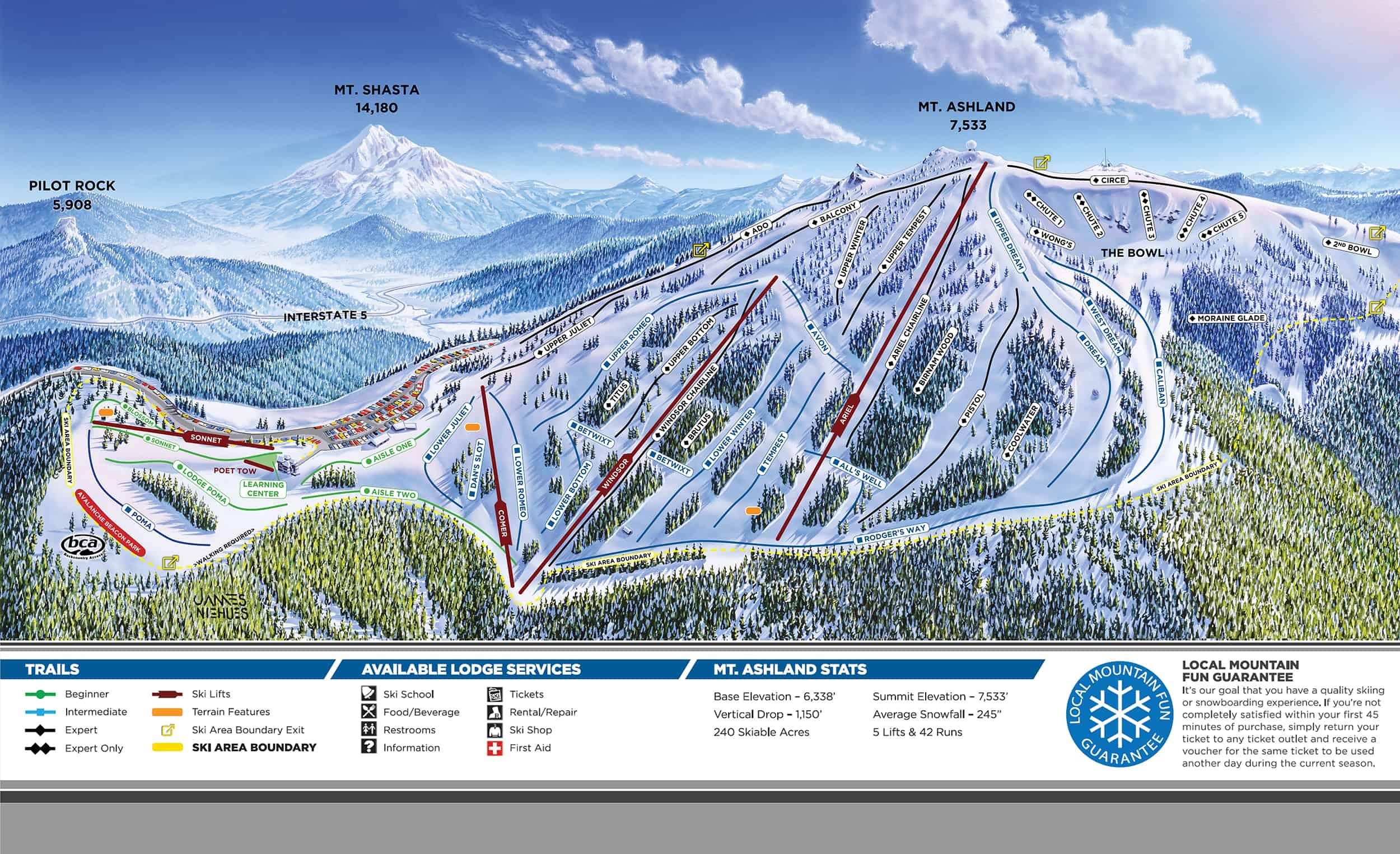 Mt. Ashland Ski Area Trail Map