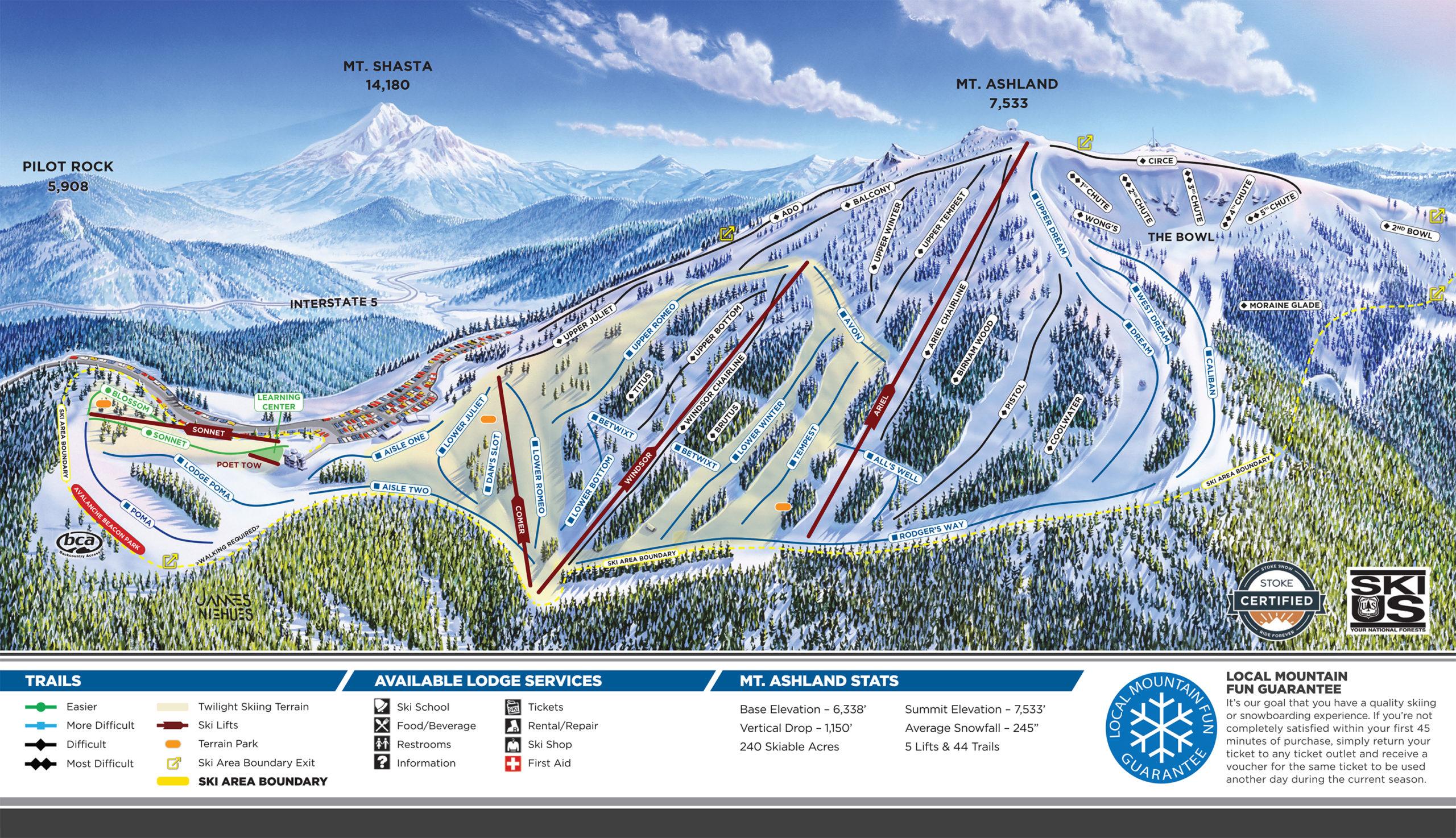 Mt. Ashland Ski Area Trail Map ©2020 Mt. Ashland Association